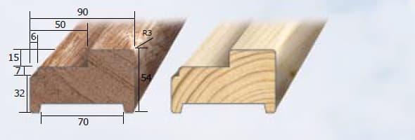 Inmetselkozijn stomp wit 56x90x2315mm grenen stijl
